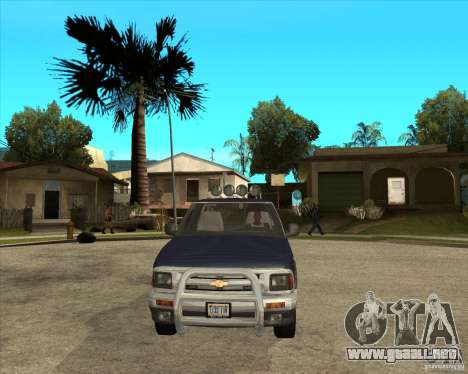 1996 Chevrolet Blazer pickup para GTA San Andreas vista hacia atrás