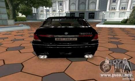 BMW 760LI para GTA San Andreas vista posterior izquierda
