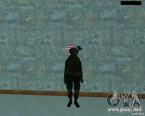 El tercer soldado de la piel Cod MW 2 para GTA San Andreas quinta pantalla