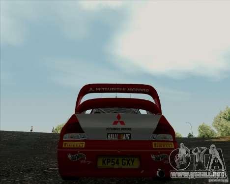 Mitsubishi Lancer Evolution VIII WRC para GTA San Andreas vista posterior izquierda