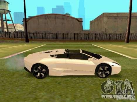 Lamborghini Reventon Convertible para GTA San Andreas vista hacia atrás
