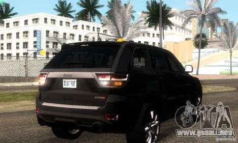 Jeep Grand Cherokee SRT8 para GTA San Andreas vista hacia atrás