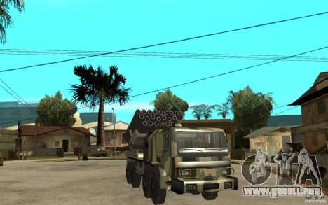 Missile Launcher Truck para GTA San Andreas vista hacia atrás