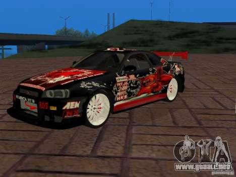Nissan Skyline GT-R R34 Tunable para la visión correcta GTA San Andreas