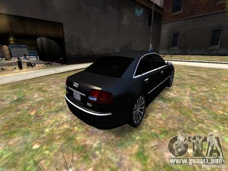 Audi A8L W12 para GTA 4 vista hacia atrás
