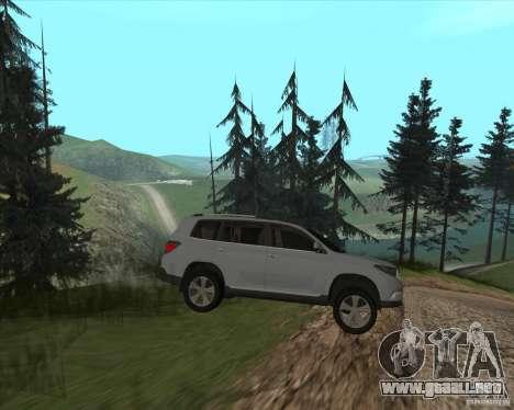Toyota Highlander para GTA San Andreas vista hacia atrás