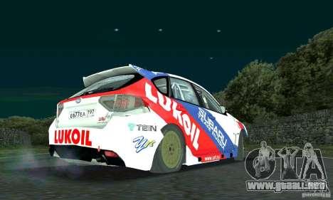 Subaru Impreza WRX STi Russia Rally para GTA San Andreas vista hacia atrás