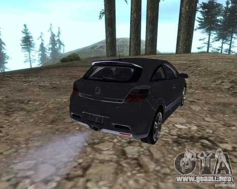 Vauxhall Astra VXR para GTA San Andreas vista posterior izquierda