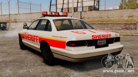 Un nuevo coche patrulla para GTA 4 Vista posterior izquierda