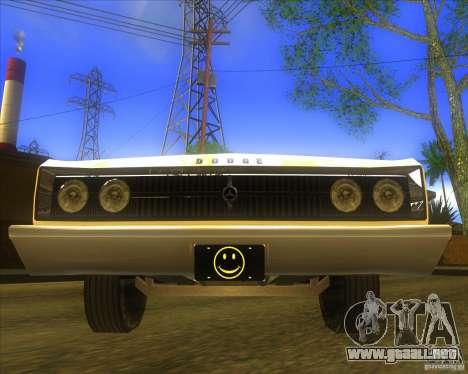 Dodge Coronet 1967 para GTA San Andreas vista hacia atrás
