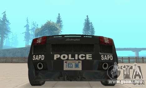 Lamborghini Gallardo Police para visión interna GTA San Andreas