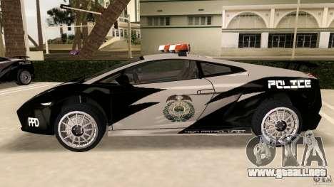 Lamborghini Gallardo Police para GTA Vice City left