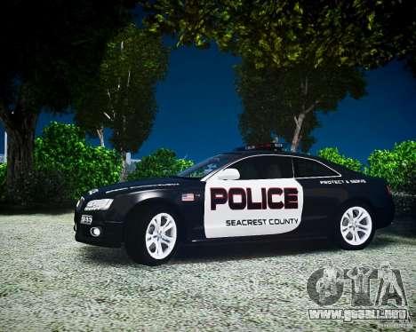 Audi S5 Police para GTA 4 Vista posterior izquierda