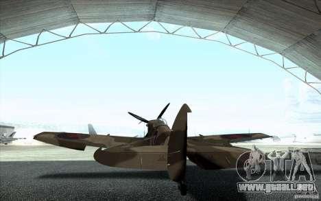 Spitfire para GTA San Andreas vista posterior izquierda
