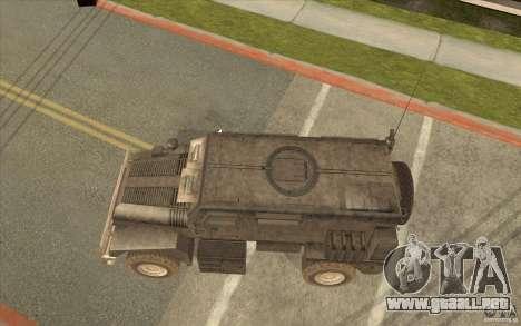 Military Truck para GTA San Andreas vista posterior izquierda