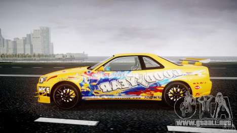 Nissan Skyline R34 GT-R Tezuka Goodyear D1 Drift para GTA 4 left