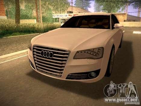 Audi A8 2010 para GTA San Andreas vista posterior izquierda