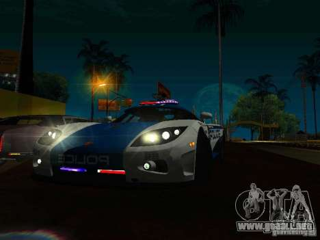 Koenigsegg CCX Police para GTA San Andreas vista hacia atrás