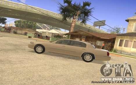 Lincoln Towncar Secret Service para GTA San Andreas vista hacia atrás
