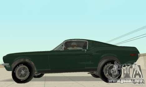 Ford Mustang Bullitt 1968 v.2 para GTA San Andreas vista posterior izquierda