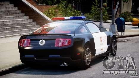 Ford Mustang V6 2010 Police v1.0 para GTA 4 vista lateral