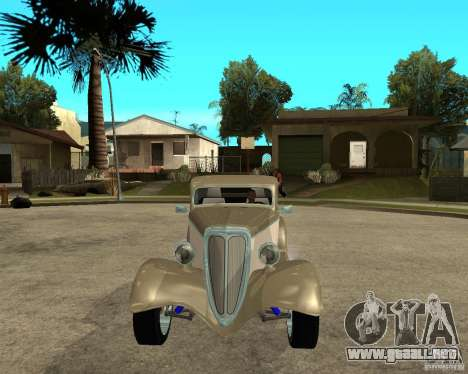 Ford 1934 Coupe v2 para GTA San Andreas vista hacia atrás