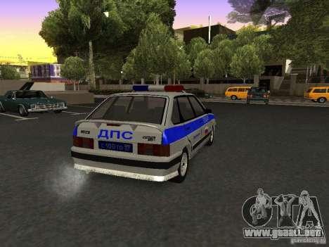 ВАЗ 2114 policía para GTA San Andreas vista posterior izquierda