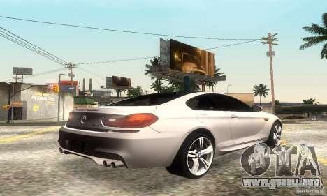 BMW M6 Coupe 2013 para GTA San Andreas vista hacia atrás