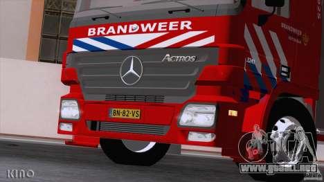 Mercedes-Benz Actros Fire Truck para visión interna GTA San Andreas
