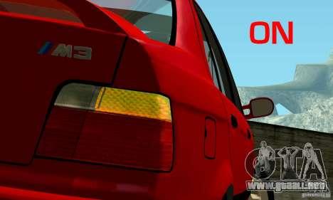 BMW E36 320i para GTA San Andreas vista hacia atrás