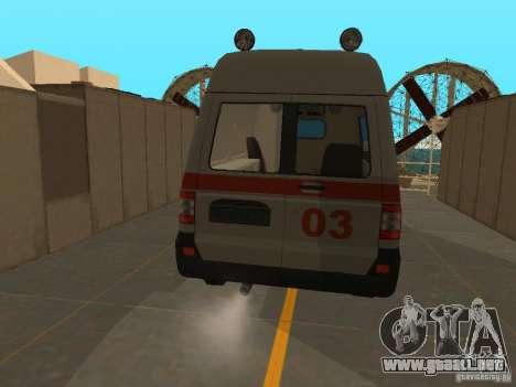 Ambulancia UAZ Simba SC para GTA San Andreas vista posterior izquierda