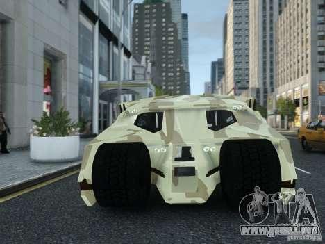 HQ Batman Tumbler para GTA 4 vista hacia atrás