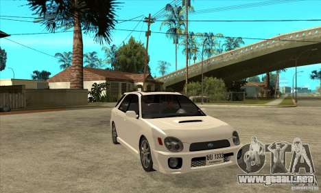 Subaru Impreza WRX Wagon 2002 para GTA San Andreas vista hacia atrás