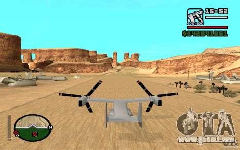 Bell V-22 Osprey para GTA San Andreas vista posterior izquierda