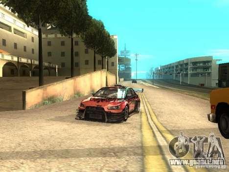 Mitsubishi Lancer Evo X Trailblazer Dirt2 para GTA San Andreas vista hacia atrás