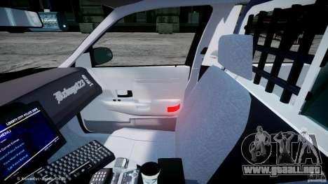 Ford Crown Victoria Massachusetts Police [ELS] para GTA 4 vista hacia atrás