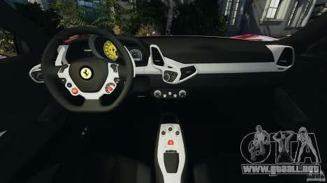 Ferrari 458 Italia 2010 v2.0 para GTA 4 vista hacia atrás