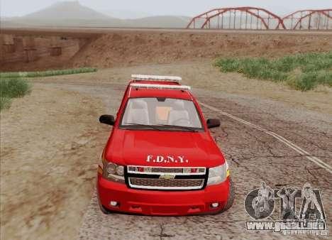 Chevrolet Suburban EMS Supervisor 862 para visión interna GTA San Andreas
