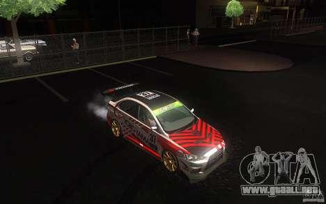 Mitsubishi Lancer Evolution X Gymkhana para GTA San Andreas vista hacia atrás