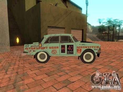 Versión Rally Moskvich 412 para GTA San Andreas vista posterior izquierda