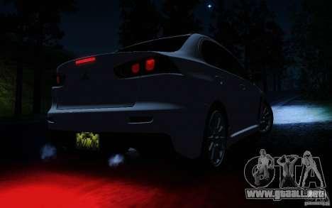 Mitsubishi Lancer Evolution X Tunable para GTA San Andreas interior