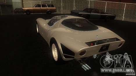 Alfa Romeo Tipo 33 Stradale para GTA San Andreas vista posterior izquierda
