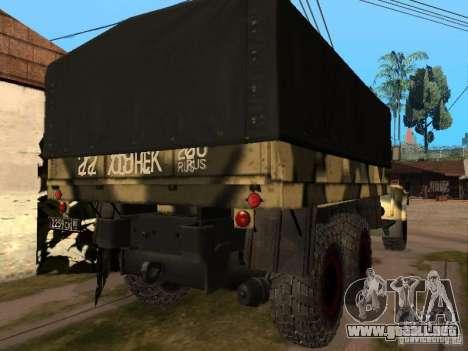 KrAZ 255 B1 v 2.0 para GTA San Andreas vista hacia atrás