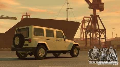 Jeep Wrangler Unlimited Rubicon 2013 para GTA 4 Vista posterior izquierda