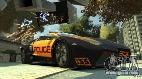 Lamborghini Reventon Police Hot Pursuit para GTA 4 left