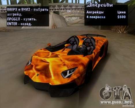 Lamborghini Aventador J TT Black Revel para vista inferior GTA San Andreas