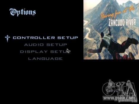 El menú principal en el estilo de GTA 5 para GTA San Andreas segunda pantalla