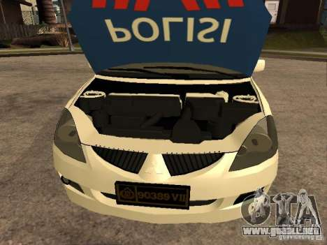 Mitsubishi Lancer Police Indonesia para la visión correcta GTA San Andreas