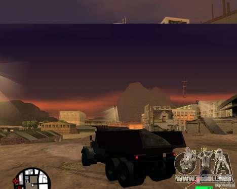 Camión KrAZ-256 para GTA San Andreas vista posterior izquierda