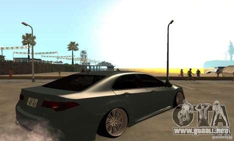 Acura TSX 2010 para GTA San Andreas vista posterior izquierda